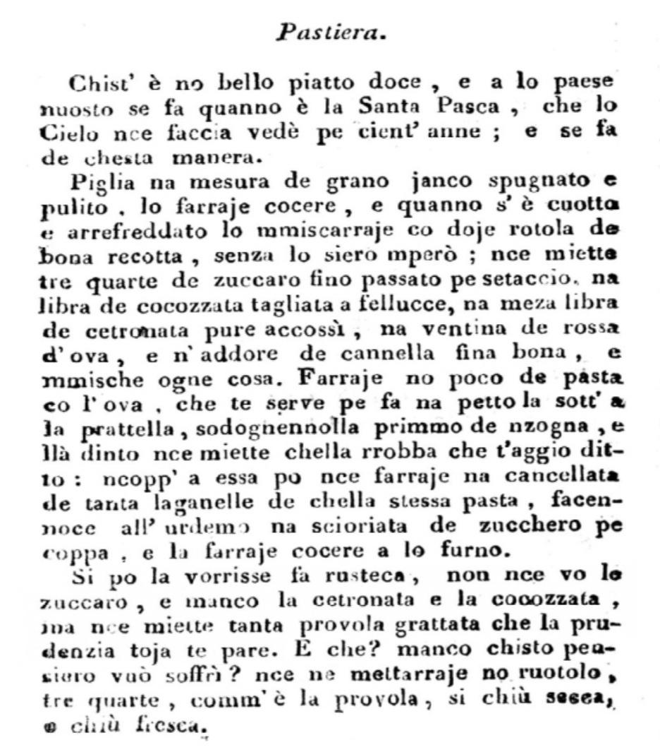 pastiera_la ricetta di Ippolito Cavalcanti